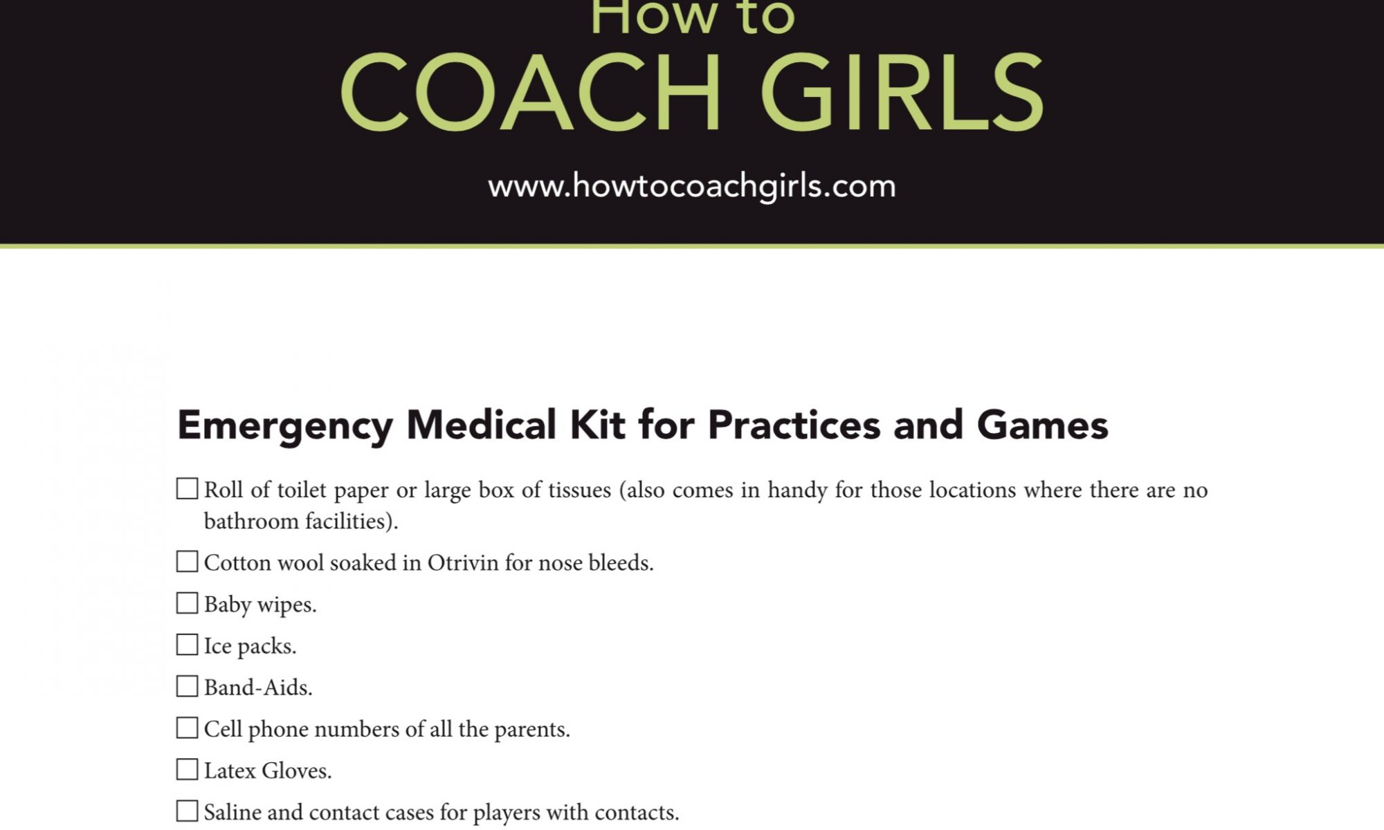Free Downloadable Emergency Medical Kit Check Off Form
