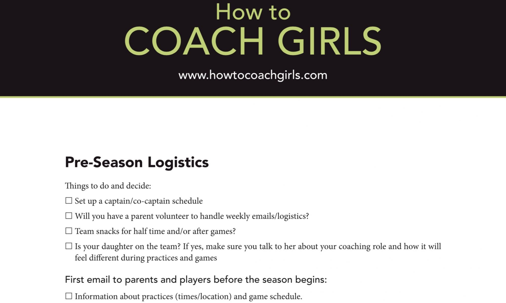 How to Coach Girls Pre Season Logistics Check Off Downloadable Form
