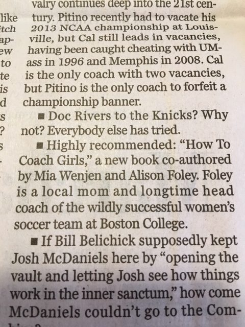 Boston Globe Dan Shaughnessy's Column How To Coach Girls