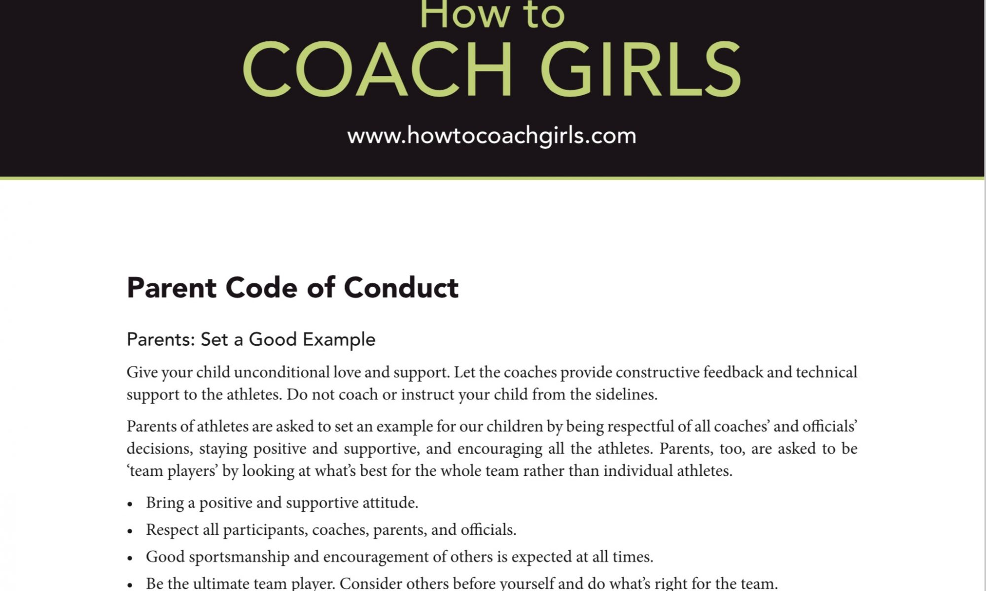 Parent Code of Conduct Downloadable Form
