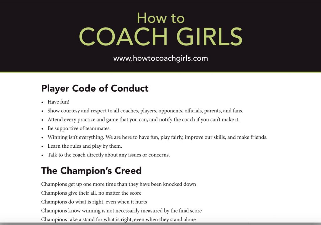 Player Code of Conduct Downloadable Form