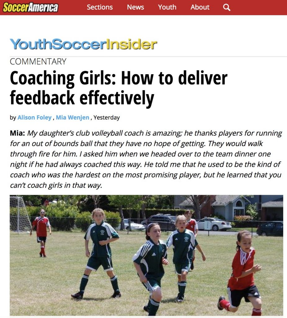 Soccer America: Coaching Girls: How to deliver feedback effectively