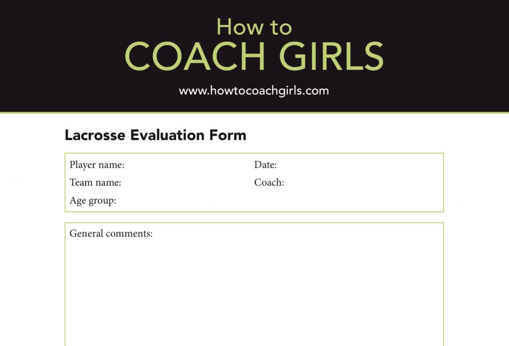 FREE Lacrosse Player Evaluation Form
