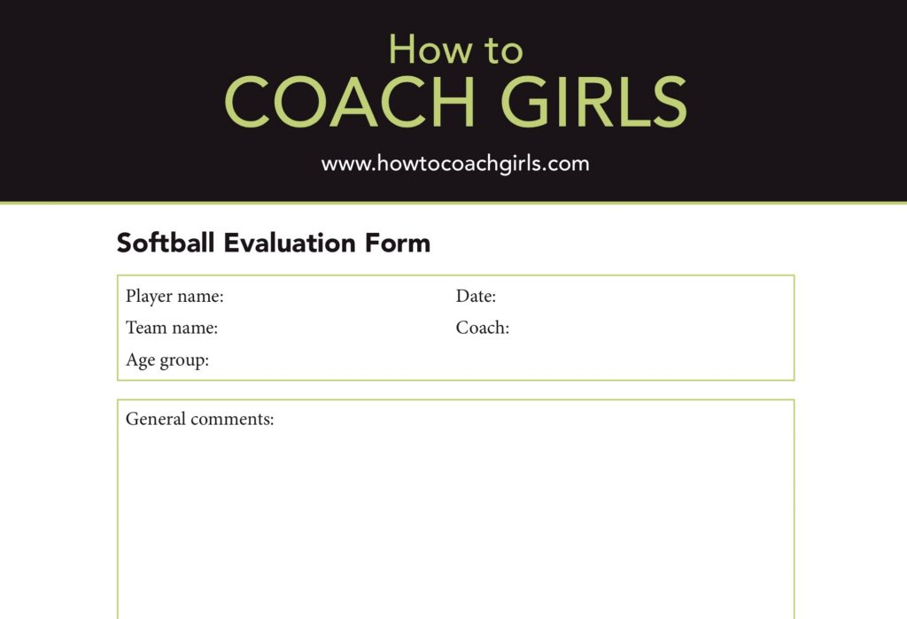 Softball Player Evaluation Downloadable Form