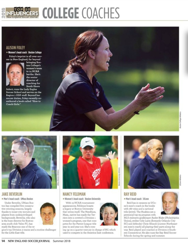 2018 College Coaches Influences from New England Soccer Journal
