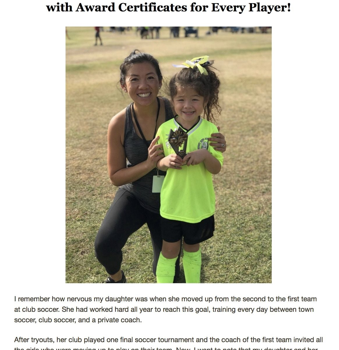 We were featured in AYSO 90 Second Soccer Parent Newsletter